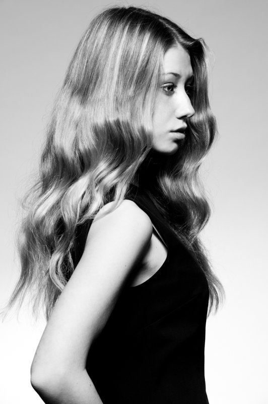 Black and white picture for hair salon