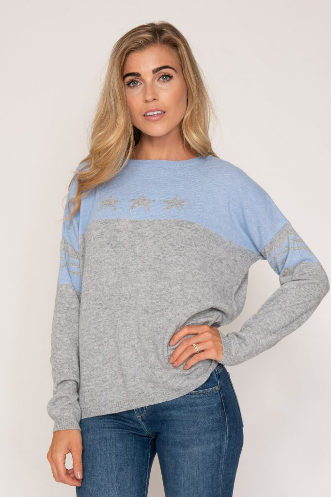Model wearing blue and grey jumper