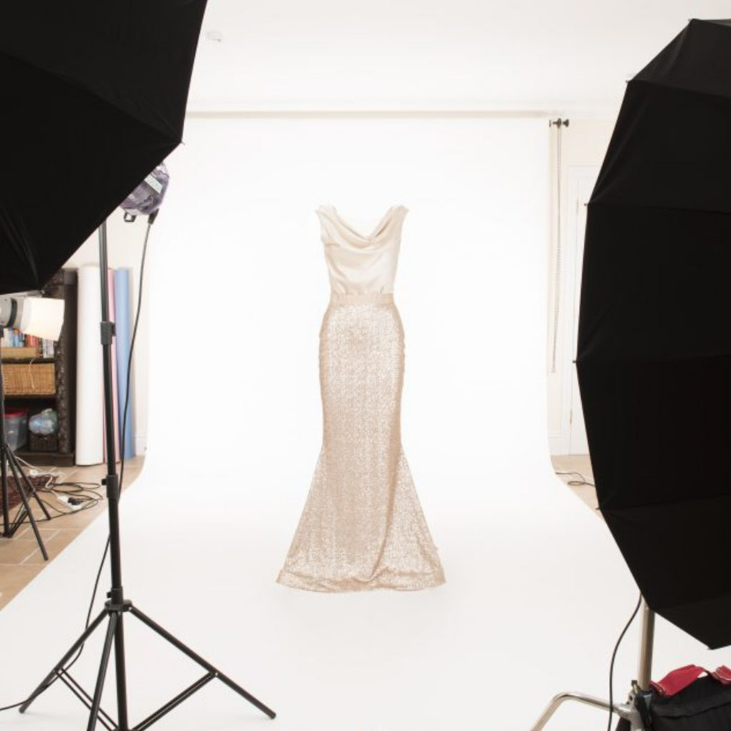 Invisible mannequin wearing bridal gown